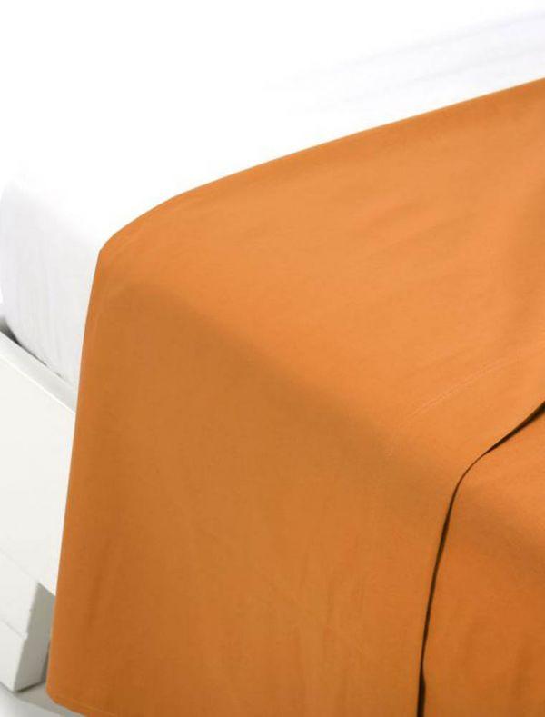 Lenzuola piana 1 piazza e mezza - arancio - 0