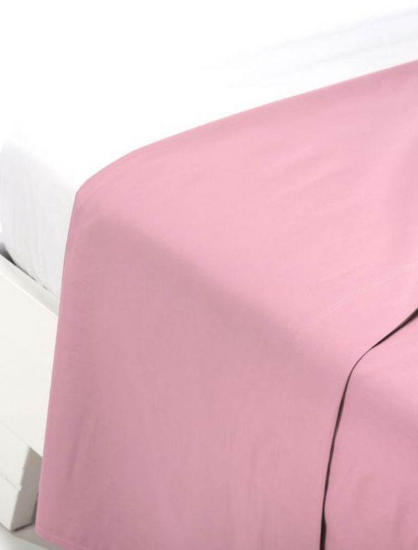 Lenzuola piana 1 piazza e mezza - rosa - 0