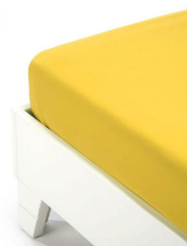 Lenzuola con angoli 2 piazze - giallo - 0