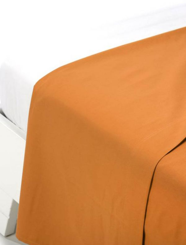 Lenzuola piana 2 piazze - arancio - 0