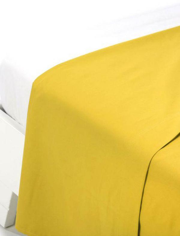 Lenzuola piana 2 piazze - giallo - 0