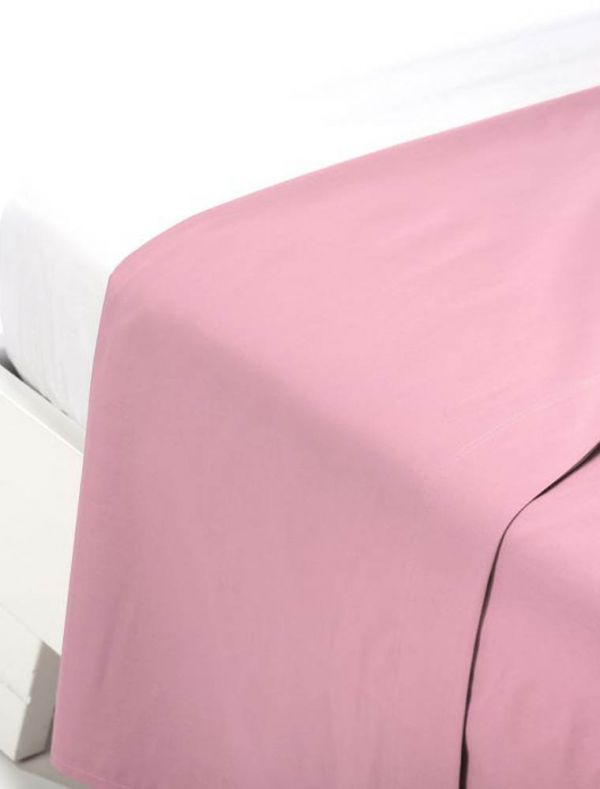 Lenzuola piana 2 piazze - rosa - 0