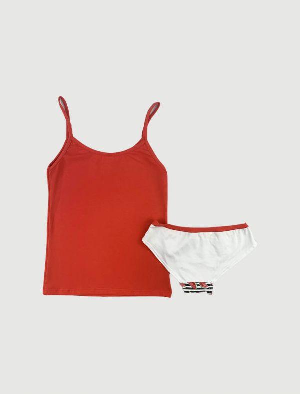 Canotta con slip Rosso Porpora - corallo