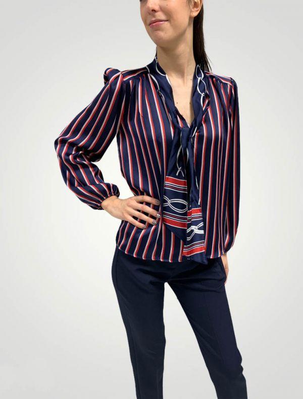 Camicia manica lunga Sandro Ferrone - blu rosso