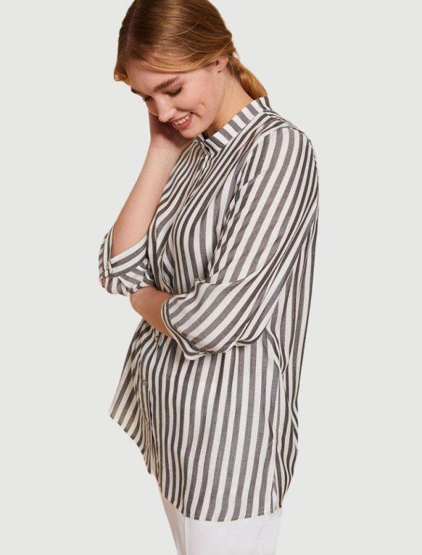 Camicia manica corta conformata - bianco nero