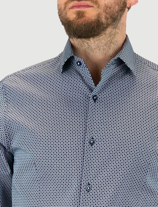 Camicia manica lunga Identikit - cerchi bianchi fondo blu