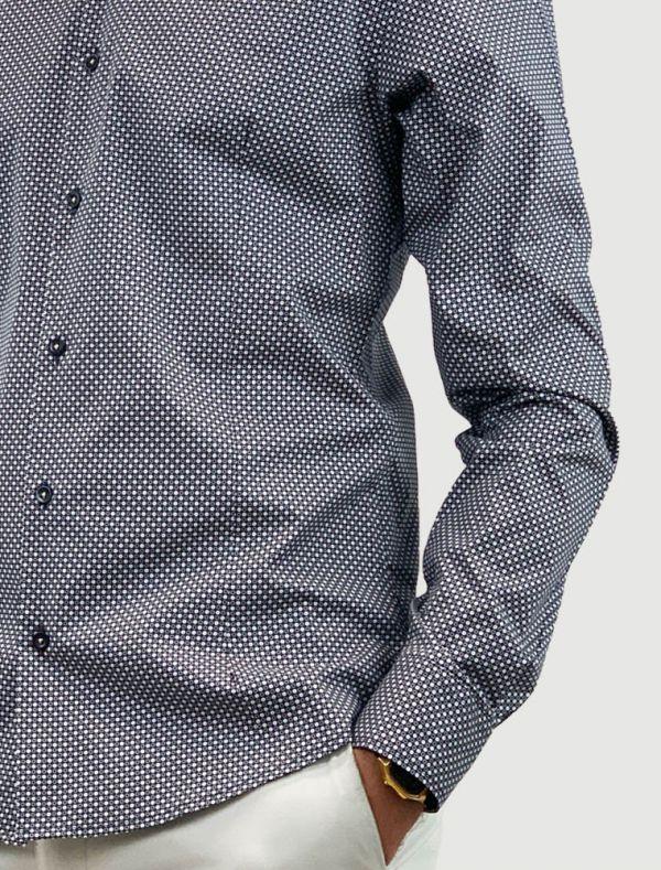 Camicia manica lunga Identikit - pois beige fondo blu