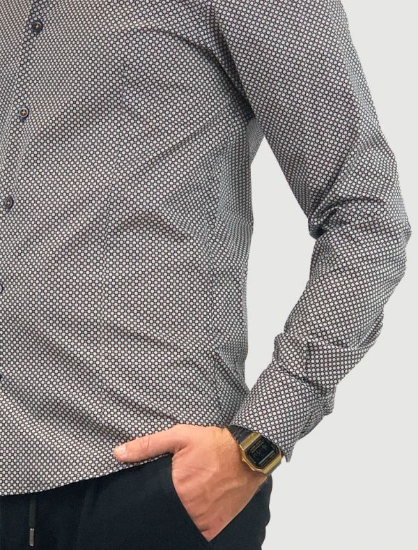 Camicia manica lunga Identikit - pois arancio fondo nero